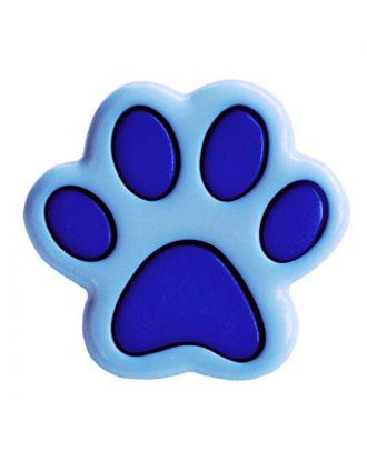Kinderknopf Polyamid in Form einer Pfote mit Öse - Größe:  18mm - Farbe: blau - ArtNr.: 281215