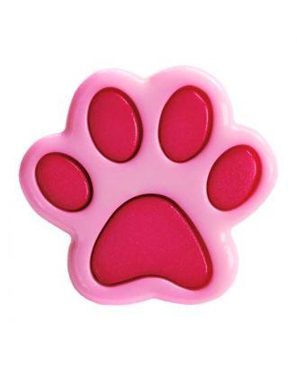 Kinderknopf Polyamid in Form einer Pfote mit Öse - Größe:  18mm - Farbe: pink - ArtNr.: 281216