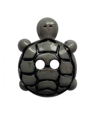 Kinderknopf Schildkröte Polyamid mit 2 Löchern - Größe:  18mm - Farbe: grau - ArtNr.: 311127