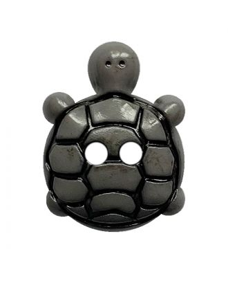 Kinderknopf Schildkröte Polyamid mit 2 Löchern - Größe:  15mm - Farbe: grau - ArtNr.: 281220