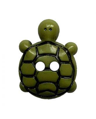 Kinderknopf Schildkröte Polyamid mit 2 Löchern - Größe:  15mm - Farbe: grün - ArtNr.: 281221