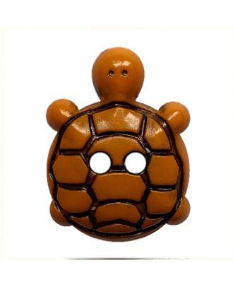 Kinderknopf Schildkröte Polyamid mit 2 Löchern - Größe:  15mm - Farbe: orange - ArtNr.: 281223
