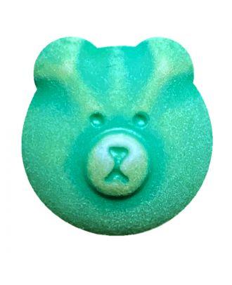 Kinderknopf Teddybär Polyamid mit Öse - Größe:  15mm - Farbe: grün - ArtNr.: 281226