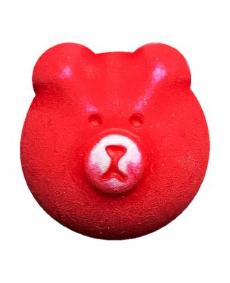 Kinderknopf Teddybär Polyamid mit Öse - Größe:  18mm - Farbe: rot - ArtNr.: 311134