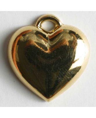 Herzknopf, Kunststoff metallisiert, glänzend mit eingearbeiter Öse - Größe: 20mm - Farbe: gold - Art.Nr. 280507