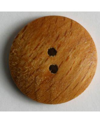 Holzknopf, klassische Form mit feiner Maserung, 2-Loch - Größe: 13mm - Farbe: braun - Art.Nr. 201194