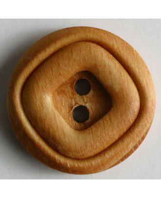 Holzknopf mit Doppelrand und 2 Löchern - Größe: 15mm - Farbe: braun - Art.Nr. 221196