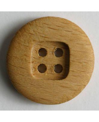 Holzknopf, 4 Löcher in quadratischer Mulde - Größe: 28mm - Farbe: braun - Art.Nr. 270354