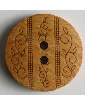 Holzknopf mit lasergravierten Blätterranken, 2-Loch - Größe: 23mm - Farbe: braun - Art.Nr. 260803
