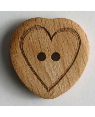 echter Holzknopf mit eingraviertem Herz -  Größe: 15mm - Farbe: braun - Art.Nr. 231464