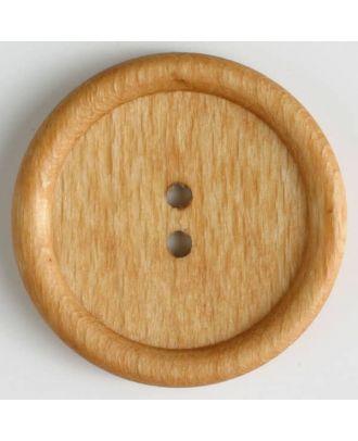 Holzknopf 2-Loch mit Rand - Größe: 45mm - Farbe: braun - Art.Nr. 470034