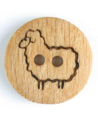 Holzknopf mit stehendem Schaf, 2-Loch - Größe: 18mm - Farbe: braun - Art.Nr. 241179