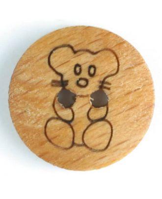 Holzknopf mit sitzendem Teddybär, 2-Loch - Größe: 15mm - Farbe: braun - Art.Nr. 231605