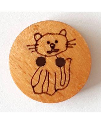 Kinderknopf Katze Pussycat aus echtem Holz - Größe: 15mm - Farbe: braun - Art.Nr. 241240