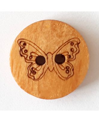 Kinderknopf hübscher Schmetterling aus echtem Holz - Größe: 15mm - Farbe: braun - Art.Nr. 241241
