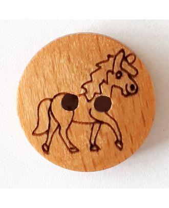 Kinderknopf hübsches Pferd aus echtem Holz - Größe: 15mm - Farbe: braun - Art.Nr. 241242