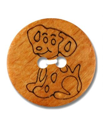 echter Holzknopf mit eingraviertem Dalmatiner 2-Loch - Größe: 15mm - Farbe: braun - Art.Nr. 241260