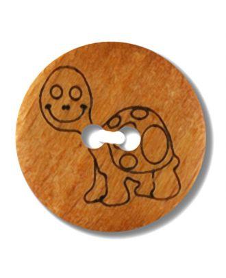echter Holzknopf mit eingravierter Schildkröte 2-Loch - Größe: 15mm - Farbe: braun - Art.Nr. 241261