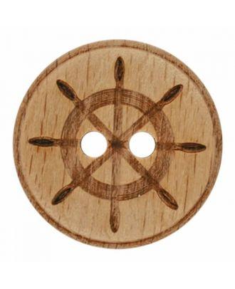 Holzknopf mit Steuerrad und zwei Löchern - Größe: 28mm - Farbe: braun - Art.Nr. 341359