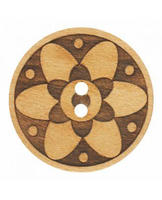 Holzknopf rund mit Blumenmuster und 2 Löchern - Größe: 28mm - Farbe: braun - Art.-Nr.: 341376