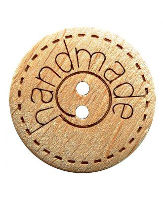 """Holzknopf rund mit """"handmade""""-Schriftzug und 2 Löchern - Größe:  15mm - Farbe: braun - Art.Nr.: 261405"""