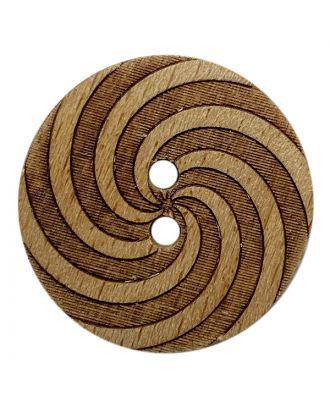Holzknopf rund mit Muster und 2 Löchern - Größe:  23mm - Farbe: braun - ArtNr.: 311116