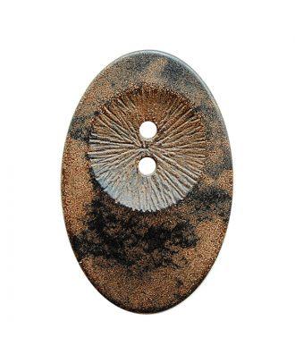 Holzknopf oval mit 2 Löchern - Größe:  34mm - Farbe: braun - ArtNr.: 400288