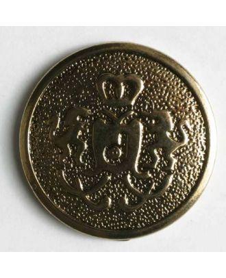 Blazerknopf, vollmetall, strukturiert mit Löwenkrone und Öse - Größe: 20mm - Farbe: altgold - Art.Nr. 310004
