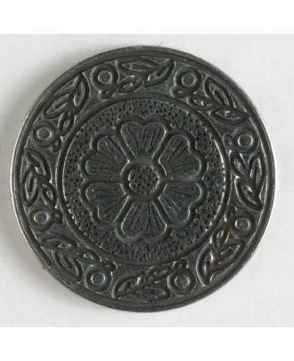 Vollmetallknopf, florale Motive sowohl im Innen- und Außenbereich, mit Öse - Größe: 15mm - Farbe: altsilber - Art.Nr. 201087