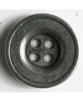 Vollmetallknopf 4-Loch antik mit breitem Rand - Größe: 15mm - Farbe: altsilber - Art.Nr. 190816