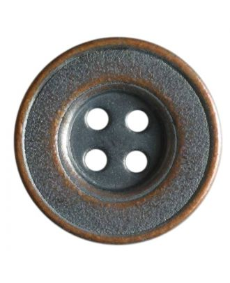 Vollmetallknopf 4-Loch antik mit breitem Rand - Größe: 20mm - Farbe: kupfer - Art.Nr. 221032