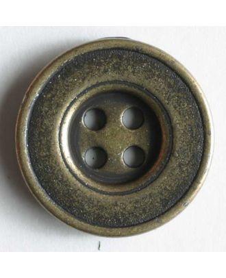 Vollmetallknopf 4-Loch antik mit breitem Rand - Größe: 15mm - Farbe: altmessing - Art.Nr. 190980