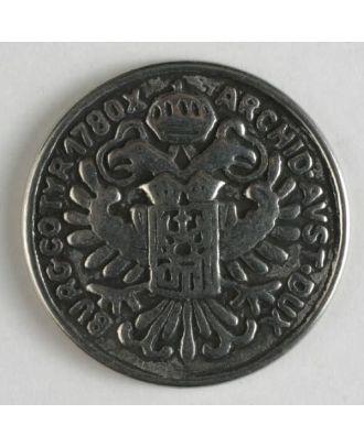Vollmetallknopf, bekrönter Doppeladler mit Wappenschild  - Größe: 22mm - Farbe: altsilber - Art.Nr. 260324
