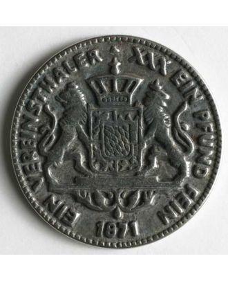 Wappenknopf, vollmetall Bayern-Taler mit Öse - Größe: 15mm - Farbe: altsilber - Art.Nr. 220790