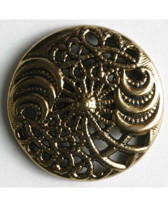 Vollmetallknopf, filigranes Design mit Öse- Größe: 25mm - Farbe: altgold - Art.Nr. 360082