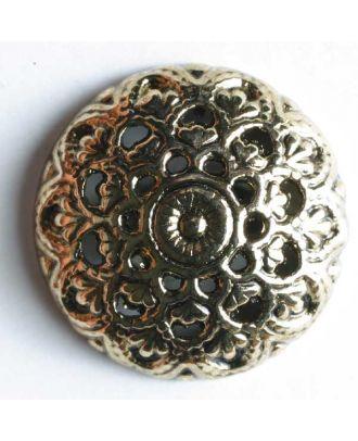 Vollmetallknopf, gewölbter floraler und filigraner Stil mit Öse - Größe: 23mm - Farbe: altgold - Art.Nr. 330106