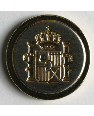 Blazerknopf, vollmetall, mit schmalem Rand, Wappen und Öse - Größe: 23mm - Farbe: gold - Art.Nr. 360178