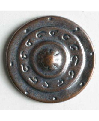 Vollmetallknopf, mittelalterliches Schild, mit Öse - Größe: 25mm - Farbe: kupfer - Art.Nr. 350167