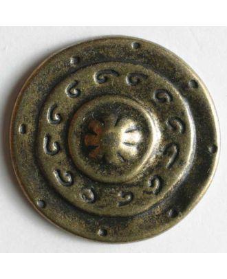 Vollmetallknopf, mittelalterliches Schild, mit Öse - Größe: 25mm - Farbe: altmessing - Art.Nr. 350168