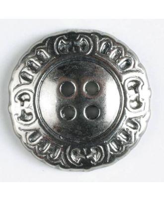 Vollmetallknopf mit schnörkeligem Rand und 4 Löchern - Größe: 23mm - Farbe: altsilber - Art.Nr. 330171