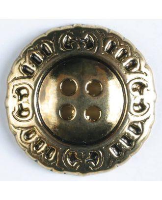 Vollmetallknopf mit schnörkeligem Rand und 4 Löchern - Größe: 23mm - Farbe: altgold - Art.Nr. 340196