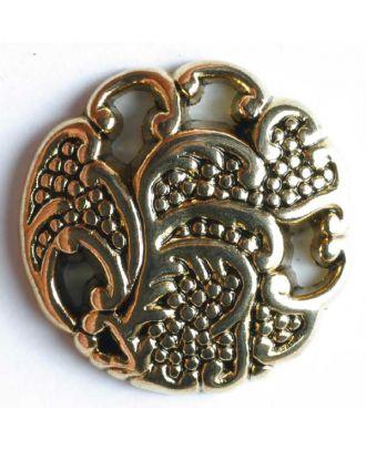 Vollmetallknopf Traubenranken, Motiv durchbrochen mit Öse - Größe: 23mm - Farbe: altgold - Art.Nr. 340265
