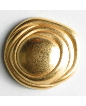 Vollmetallknopf, unregelmäßige Form mit Spiralrand und Öse - Größe: 23mm - Farbe: mattgold - Art.Nr. 340281
