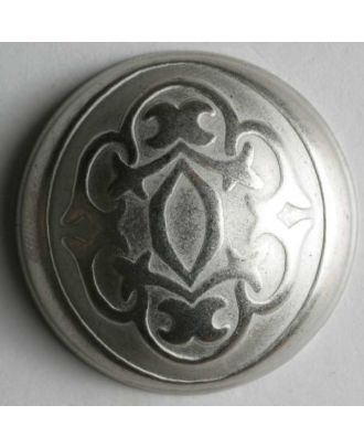 Vollmetallknopf mit viktorianischem Relief und Öse - Größe: 25mm - Farbe: mattsilber - Art.Nr. 350229