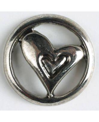 Vollmetallknopf mit ausgeschnittenem Herz und Öse - Größe: 30mm - Farbe: altsilber - Art.Nr. 370148