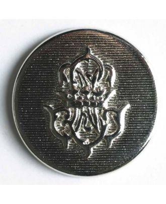 Wappenknopf, vollmetall, flach, mit strukturierter Oberfläche und Wappen - Größe: 15mm - Farbe: silber - Art.Nr. 240840