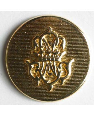 Wappenknopf, vollmetall, flach, mit strukturierter Oberfläche und Wappen - Größe: 20mm - Farbe: gold - Art.Nr. 320249