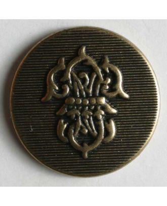 Wappenknopf, vollmetall, flach, mit strukturierter Oberfläche und Wappen - Größe: 15mm - Farbe: altmessing - Art.Nr. 240841