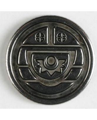 Vollmetallknopf mit antikem Relief und Öse - Größe: 23mm - Farbe: altsilber - Art.Nr. 330310