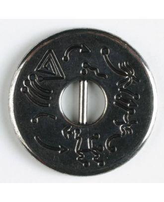 Vollmetallknopf, geteiltes Loch umrahmt von Hieroglyphen - Größe: 23mm - Farbe: altsilber - Art.Nr. 330311